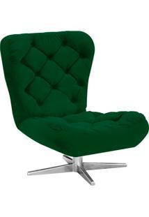 Poltrona Decorativa Botonê Iris Suede Verde Com Base Estrela Giratória Aço Cromado - D'Rossi
