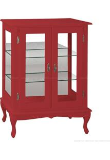 Cristaleira Baixa 2 Portas De Vidro Pés Luiz Xv 1055-E 106 X 80 X 40 Vermelho - Urbe Móveis