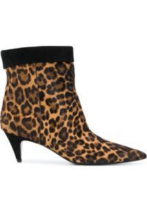 Saint Laurent Ankle Boot 'Charlotte' Com Estampa Leopardo - Preto
