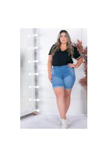 Bermuda Barra Dobrada Almaria Plus Size Shyros Jeans Azul