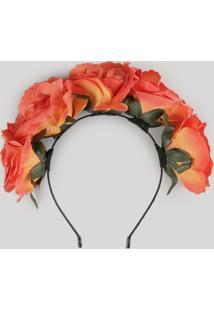 Tiara Carnaval Com Flores Laranja - Único
