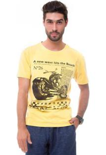 Camiseta D'Affari Estonada Estampada Masculino - Masculino-Amarelo
