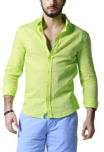 Camisa Manga Longa R.Mendes Linho Verde Acid