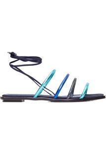 Sandália Feminina Rateira Com Amarração - Azul