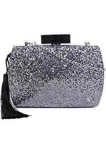 Bolsa Shoestock Clutch Glam Tassel Feminina - Feminino-Prata