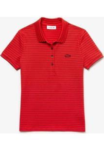 Camisa Polo Lacoste Slim Fit Feminina - Feminino-Vermelho+Marinho