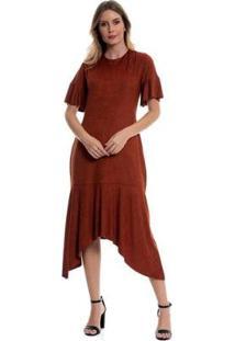 Vestido Bisô Midi Suede Feminino - Feminino