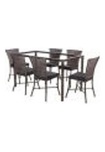 Jogo De Jantar 6 Cadeiras Turquia Pedra Ferro A37 E 1 Mesa Retangular Sem Tampo Ideal Para Área Externa Coberta