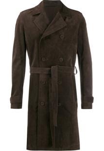 Salvatore Santoro Trench Coat Com Abotoamento Duplo - Marrom