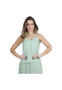 Blusa Mamorena De Alcinha Com Detalhe Em Renda Frente Verde