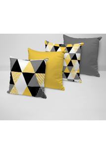 Kit 4 Capas Para Almofadas Decorativas Multi Triângulos Amarelos
