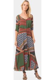 Vestido Mídi Estampado Fenda Marrakesh - Lez A Lez