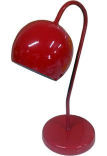 Abajur Para Mesa E Escrivaninha Modelo Bolinha Vermelho