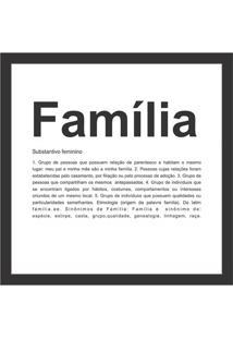 Quadro Sem Vidro Família 27X27Cm Preto