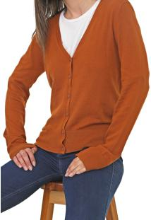 Cardigan Hering Tricot Liso Caramelo