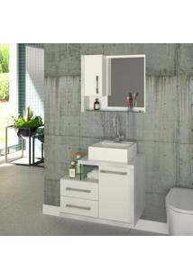 Gabinete Para Banheiro 1 Porta 2 Gavetas Com Cuba E Espelheira Legno 650W Siena Móveis Branco/Branco Chess