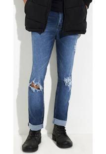 Calça Jeans Masculina Slim Com Detalhes Destroyed