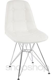 Cadeira Charles Eames Eiffel Com Base Em Metal Cromado - Assento Em Botonê Cor Branca