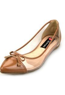 Sapatilha Love Shoes Transparente Vinil Laço Caramelo