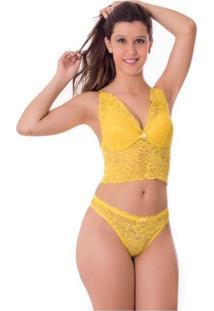 Conjunto Vip Lingerie Cropped Renda Com Bojo - Amarelo