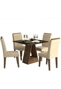 Conjunto De Mesa Para Sala De Jantar Alana Com 4 Cadeiras Tais-Cimol - Marrocos / Suede Bege