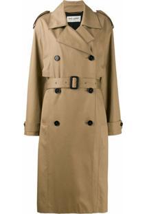Saint Laurent Trench Coat Com Cinto - Marrom