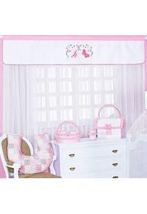 Cortina Para Querto De Bebê Rosa Flores Do Campo Com Borboletas