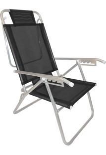 Cadeira Praia Reclinável Zaka Infinita Up Alumínio Até 100 Kg Preta