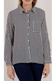 Camisa Manga Longa Feminina Branco/Azul