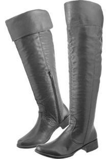 Bota Couro Over The Knee Montaria Clacle Feminina - Feminino-Preto