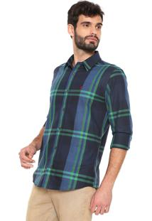 Camisa Sergio K Reta Xadrez Azul-Marinho/Verde