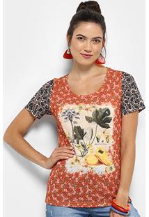 Camiseta Cantão Estampada Manga Curta Feminina - Feminino-Rosa