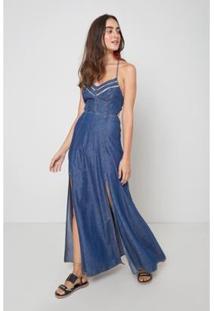 Vestido Jeans Oh, Boy! Detalhe Entremeio - Feminino-Azul
