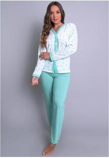 Pijama Mvb Modas Aberto Blusa Com Botões E Calça Feminino - Feminino-Verde