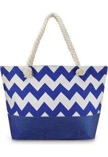 Bolsa De Praia Estampada Lisa Com Alça De Corda Jacki Design Azul Marinho - Tricae