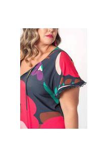 Vestido De Malha Estampado Plus Size Floral Crochê Azul Marinho