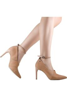 Sapato Tanara Scarpin Festa Em Couro Nude