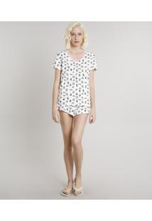 Pijama Feminino Estampado De Panda Com Renda Manga Curta Off White