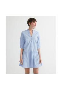 Vestido Chemisie Curto Em Algodão Com Babados Na Barra | Marfinno | Azul | Gg