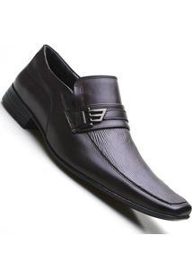 Sapato Social Masculino Em Couro Bico Quadrado Pierutti Preto - Masculino-Marrom