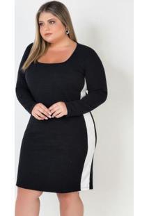 Vestido Plus Size Com Faxa Lateral Preto/Branco