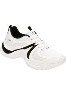 Tênis Azaleia Chunky Sneaker Sem Costura Feminino - Feminino-Branco+Preto