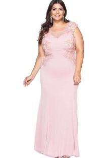 Vestido Almaria Plus Size Pianeta Longo Renda Rosa