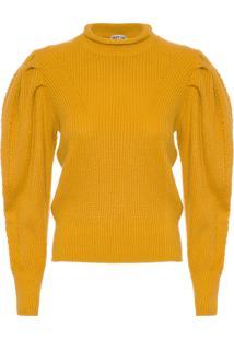 Blusa Feminina Tricot Manga Bufante - Amarelo
