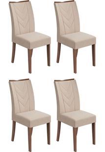 Conjunto Com 4 Cadeiras Atacama Lll Imbuia E Bege