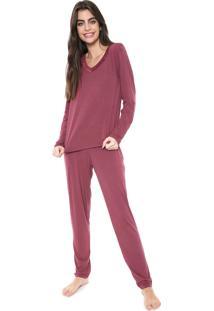 Pijama Bela Notte Renda Vinho