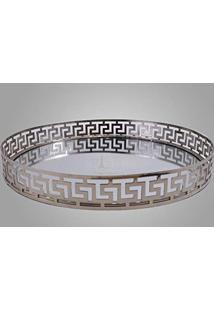 Bandeja Redonda Decorativa Espelhada Prata 31X4Cm 9639
