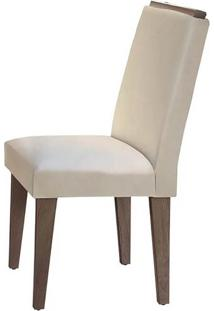Cadeira Lunara Veludo Creme Café