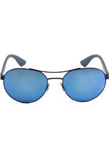 25c2e501598ef ... Óculos De Sol Ray Ban Aviador Rb3536 Preto Fosco Lente Azul Espelhada