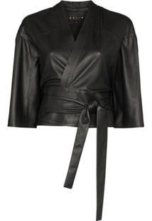 Skiim Kimono Natalya Cropped - Preto